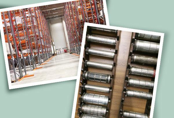 Lager in der Druckerei und Druckproduktion von Etiketten